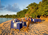Dinner on the beach — Stock Photo