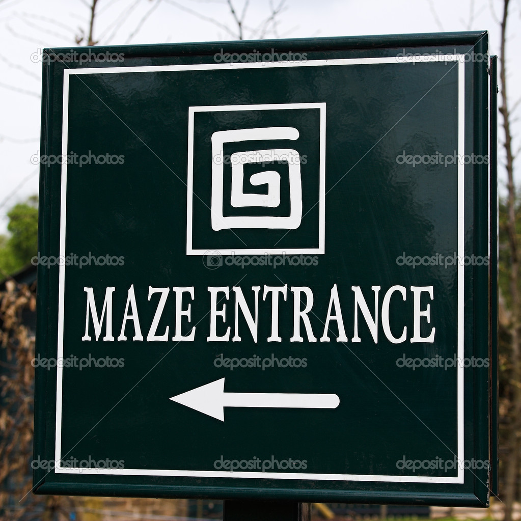 The photo shows the sign Maze Entrance. The picture was taken in Hampton Court, London. — Stock Photo #9073366
