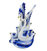 Porcelain swans on a white background — Stock Photo