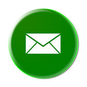 E-mail Envelope Button Icon (Green) — Stock Photo