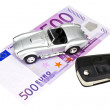Car and 500, isolated — Stock Photo