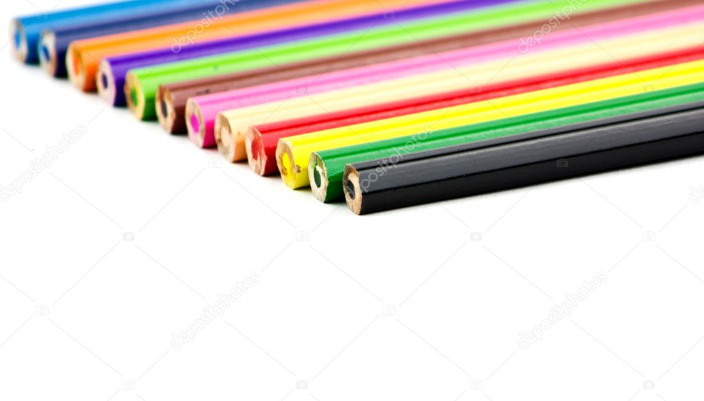 Set of color pencils on a white background — Stock Photo #9191046