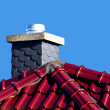 Red roof with chimney — Stock Photo
