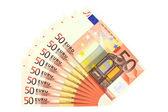 Banknoty 50 euro, na białym tle — Zdjęcie stockowe