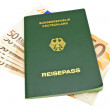 Stock Photo: Passport money, isolated