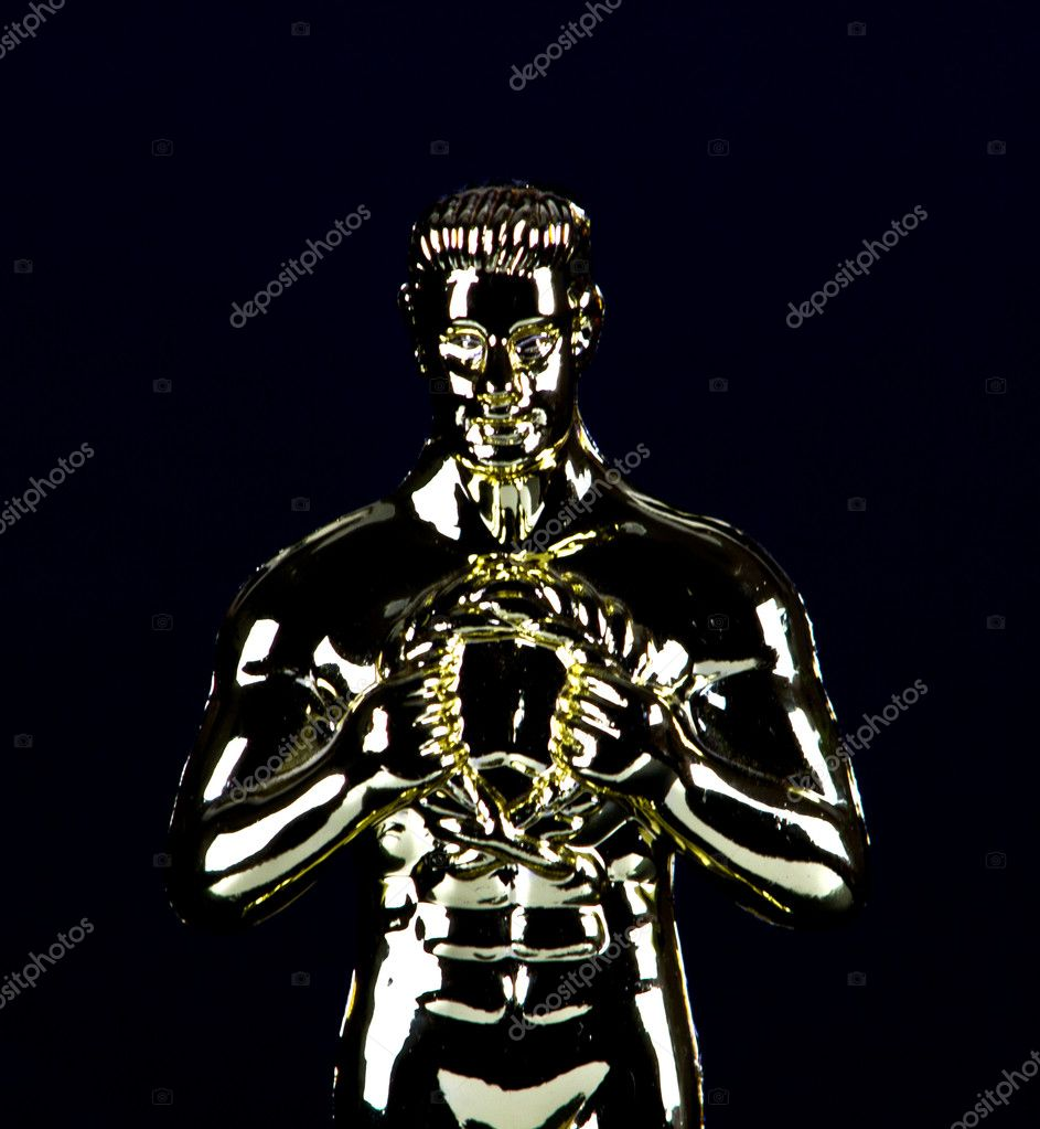 Satue trophy with a reminiscent of an Academy Award Oscar — Stock Photo #9993934