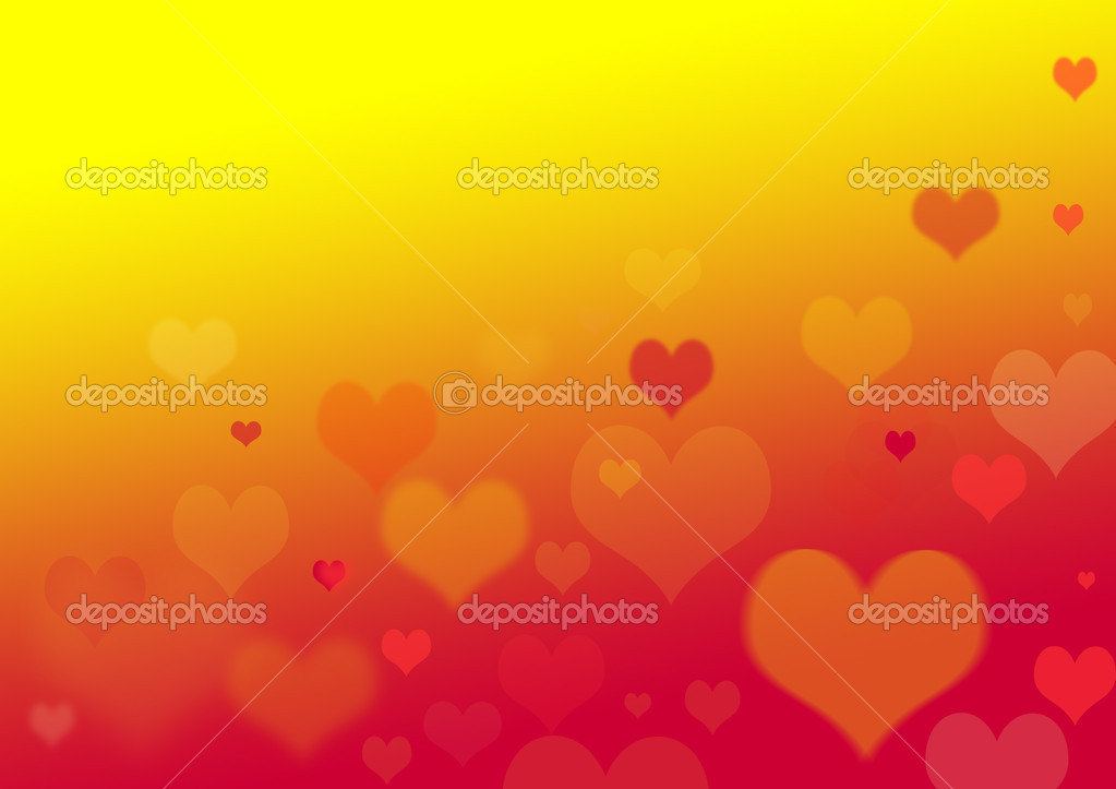 Hearts of different size on yellow and red background — Stock Photo #9128428