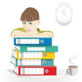 卡通形象的一个业务女人在工作办公室 — 图库矢量图片