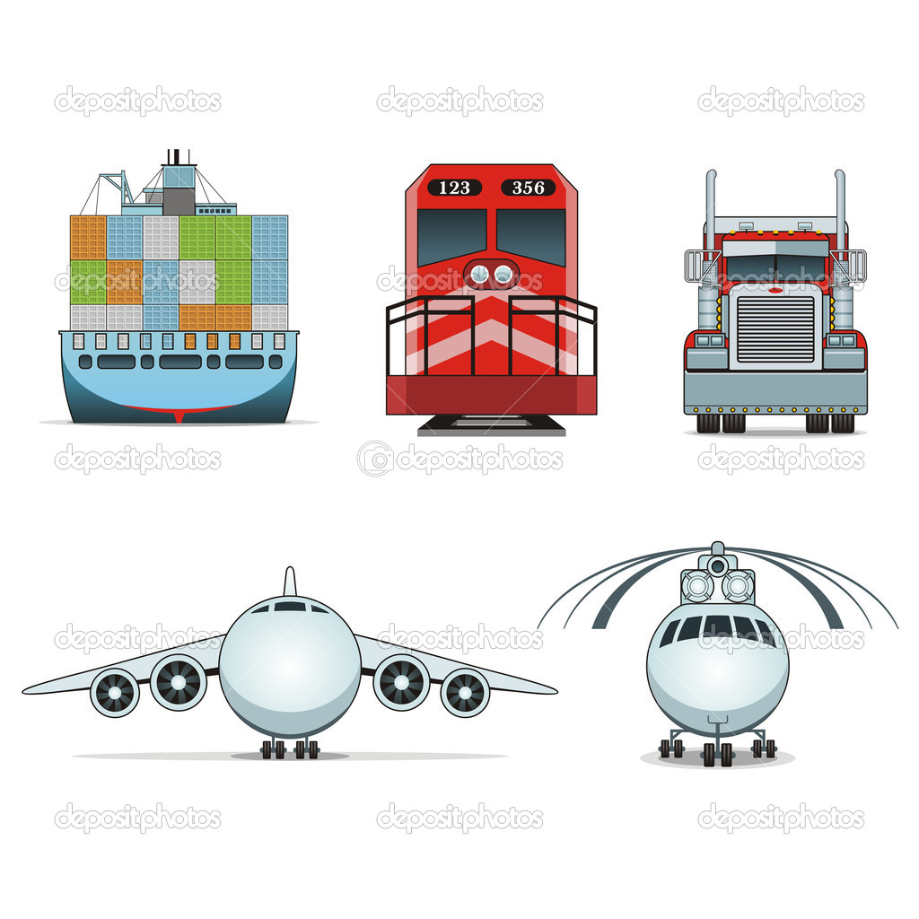 Set of 8 logistic and transportation icons | Bella series — Stock Vector #9002221