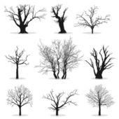 Colección de siluetas de árboles — Vector de stock
