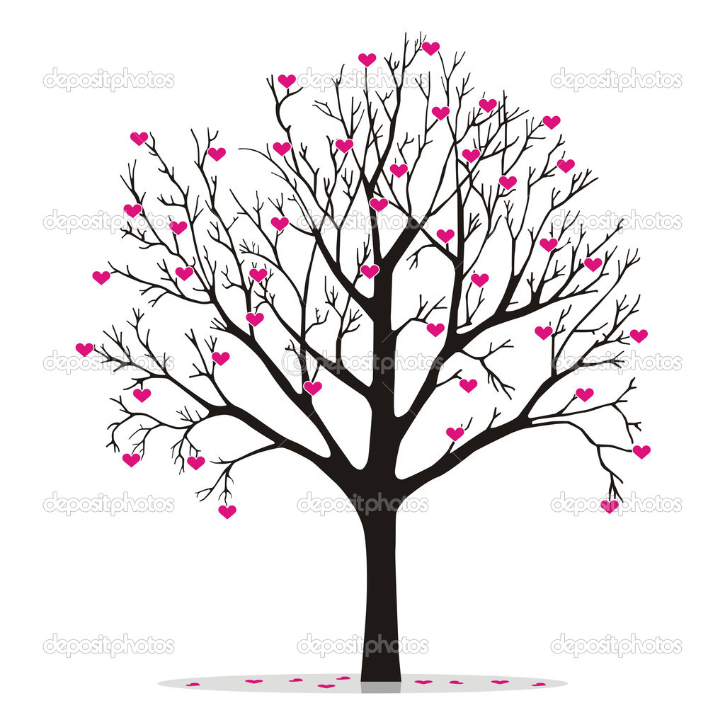 Valentine tree, love, leaf from hearts — Stock Vector #9132769