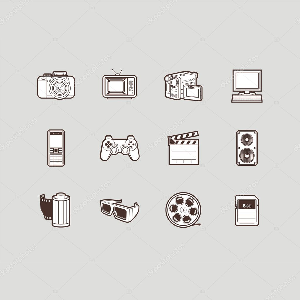 Multimedia icons set - photo and video  Stock Vector #9875546