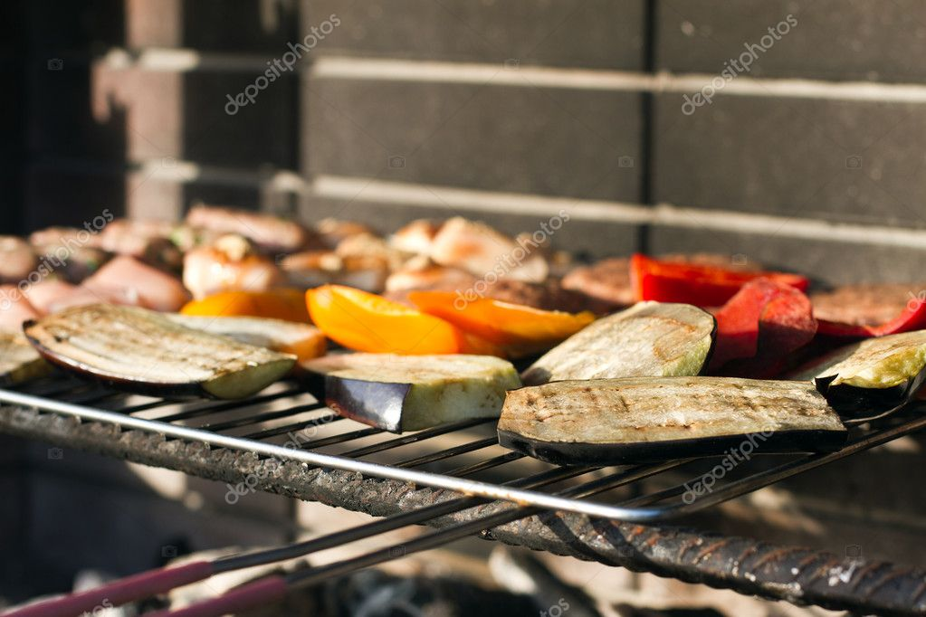 Close of up food on an outdoor barbeque — Stock Photo #10657149