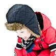 Little boy playing in the woods on a cold winter day — Stock Photo #9194644
