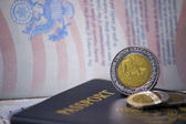 United States Passports with Mexican Coins — Stock Photo