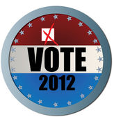 Vote 2012 Web Button with X — Stock Vector