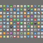 sociální média klasické ikony — Stock vektor