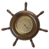 Ship helms /steering wheel barometer — Stok fotoğraf