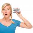 Woman with tin phone — Stock Photo