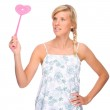 Woman with fly swatter — Stock Photo #9219964