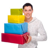 Man with presents — Stock Photo