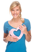 Woman with heart — Stock Photo