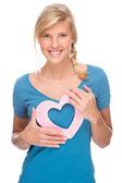 Mulher com o coração — Foto Stock