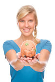 Woman with piggybank — Stock Photo