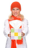 Woman with handkerchief — Stock Photo