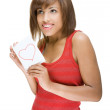 Woman with love letter — Stock Photo
