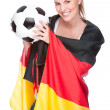 Female soccer fan — Stock Photo