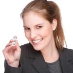 Businesswoman gambling — Stock Photo