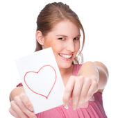 Woman with greeting card — Stock Photo