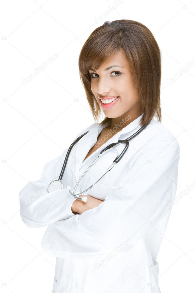 Full isolated portrait of a beautiful african doctor  Stock Photo #9222011
