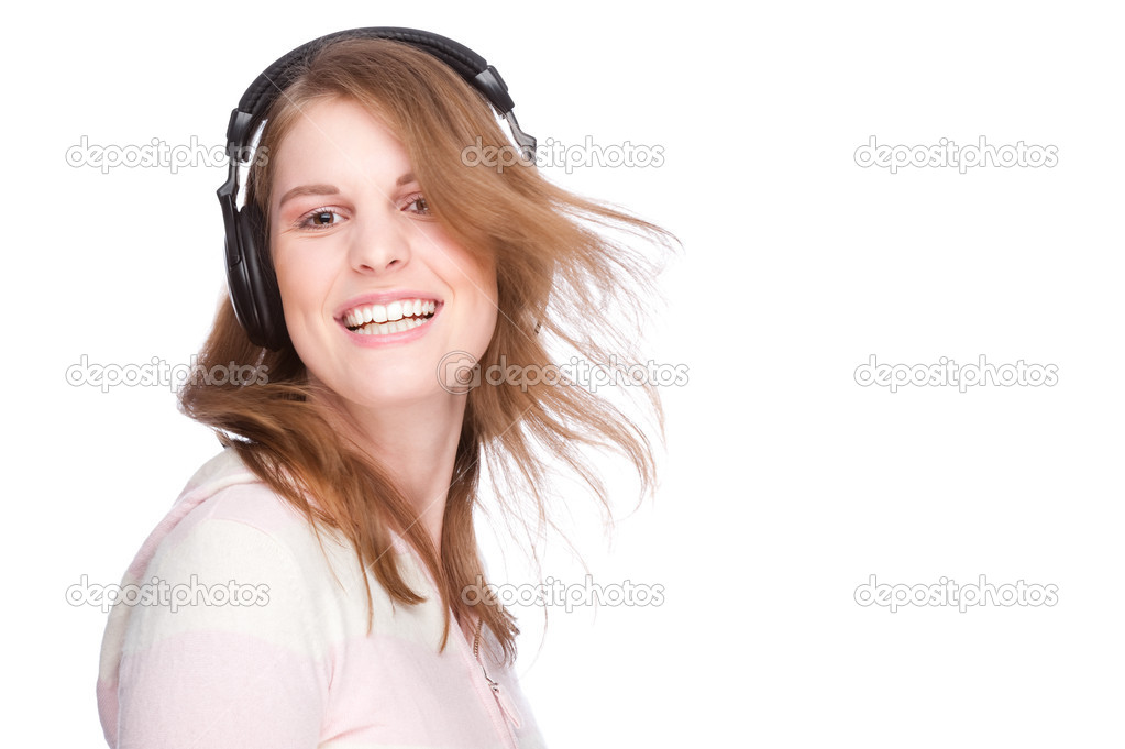 Full isolated portrait of a beautiful caucasian woman listen to the music — Stock Photo #9222737