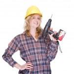 Craftswoman with drill machine — Stock Photo #9301851