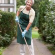 Senior with broom - Stock Photo