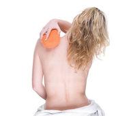 žena s houbou — Stock fotografie