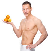 Man with fruits — Stock Photo