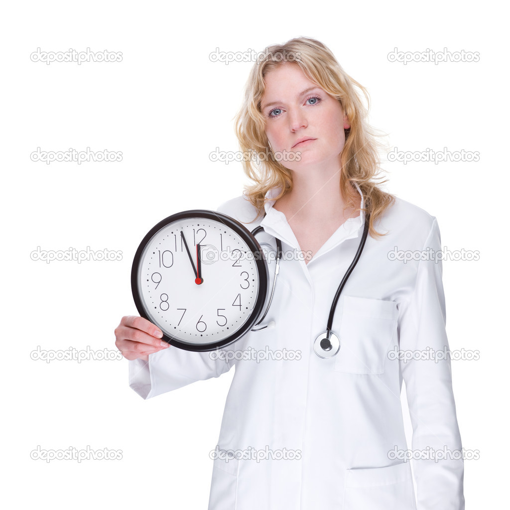 Full isolated portrait of a beautiful caucasian doctor with a clock — Stock Photo #9301679