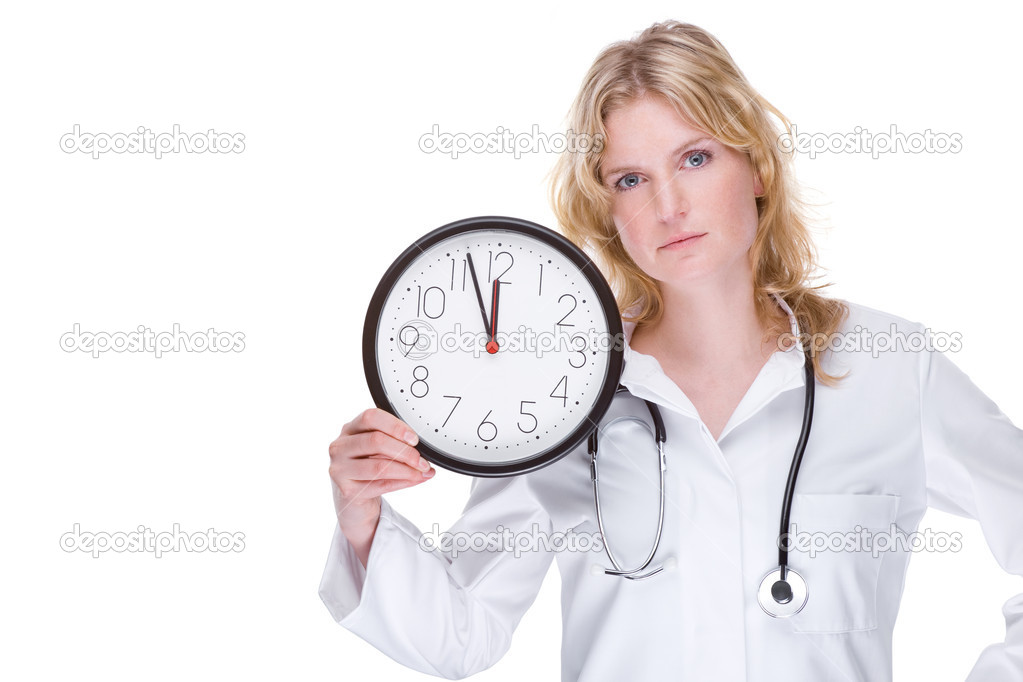 Full isolated portrait of a beautiful caucasian doctor with a clock  Stock Photo #9301682