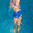 Athletic swimmer is diving in a swimming pool — Stock Photo #9501255