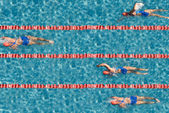 Swimming competition with one champion. — Foto Stock