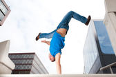 Jumping young man — 图库照片