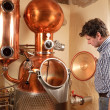 Stock Photo: Min front of distillery - copper