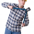 Construction worker with bolt cutter — Stock Photo #9514117