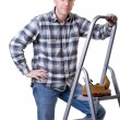 Carftsman on ladder - Stock Photo