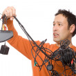 Man with cables - Stock Photo