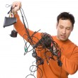 Man with cables — Stock Photo