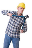 Construction worker with bolt cutter — Stock Photo